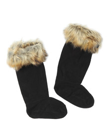 Hunter Womens Beige Original Tall Faux Fur Boot Sock