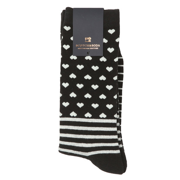 Scotch & Soda Mens Black Socks With Patterns main image