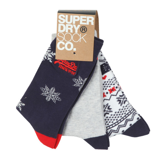 Superdry Womens Blue Xmas Novelty Triple Pack Sock main image
