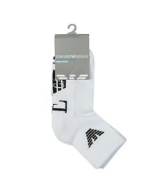 Emporio Armani Mens White Large Logo Trainer Sock