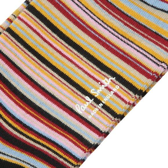 Paul Smith Mens Black Classic Multi Stripe Sock