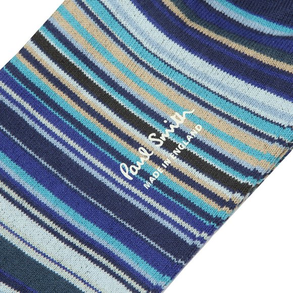 Paul Smith Mens Blue Multi Stripe Sock