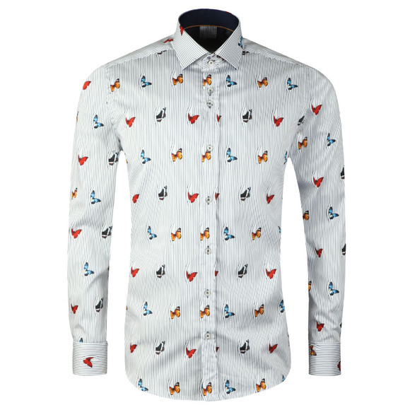 Guide London Mens Blue L/S Butterfly Shirt main image