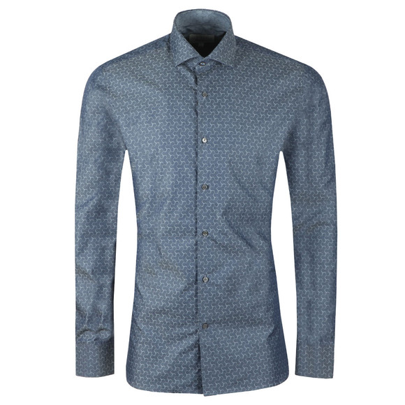 Ted Baker Mens Grey Dusks L/S Geo Jacquard Shirt