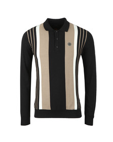 Trojan Mens Black L/S Knitted Polo
