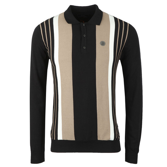 Trojan Mens Black L/S Knitted Polo main image
