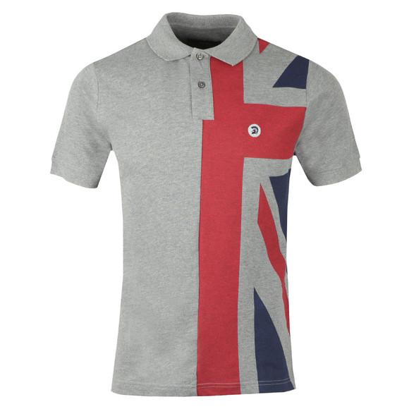Trojan Mens Grey S/S Flag Front Polo main image