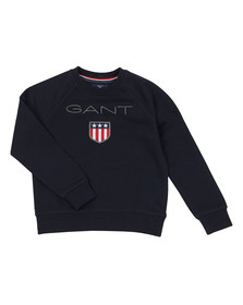 Gant Boys Blue Gant Shield Logo Crew Neck Sweat