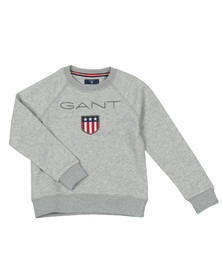 Gant Boys Grey Gant Shield Logo Crew Neck Sweat