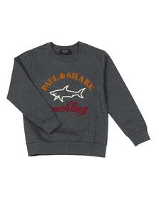Paul & Shark Cadets Boys Grey Large Logo Crew Sweat