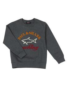 Paul & Shark Cadets Boys Grey Large Logo Crew Sweat
