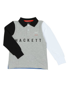 Hackett Boys Grey AMR Multi Long Sleeve Polo Shirt