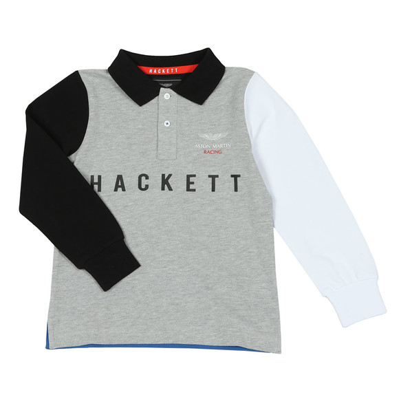Hackett Boys Grey AMR Multi Long Sleeve Polo Shirt main image