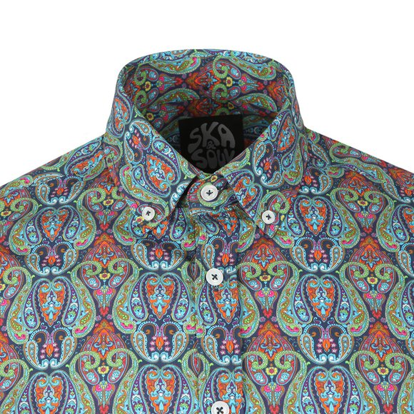 Ska & Soul Mens Blue L/S Digital Print Shirt main image