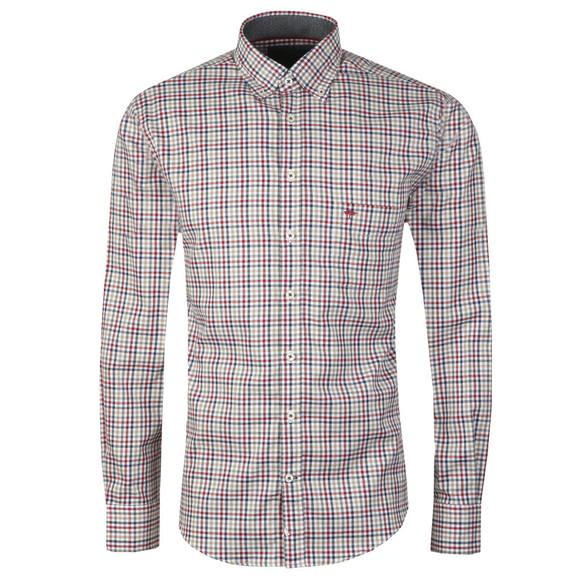 Fynch Hatton Mens Grey L/S Check Shirt main image