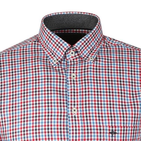 Fynch Hatton Mens Blue L/S Check Shirt main image