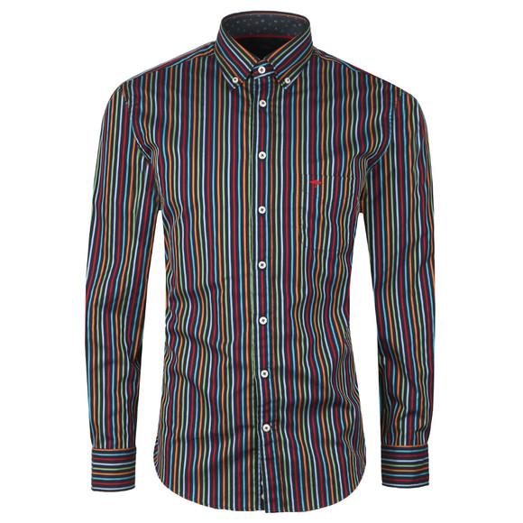 Fynch Hatton Mens Blue L/S Stripe Shirt main image