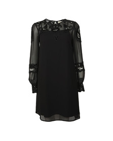 Michael Kors Womens Black Velvet Applique Dress