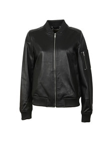 Michael Kors Womens Black Leather Bomber
