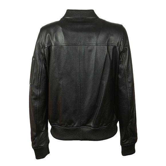 Michael Kors Womens Black Leather Bomber main image