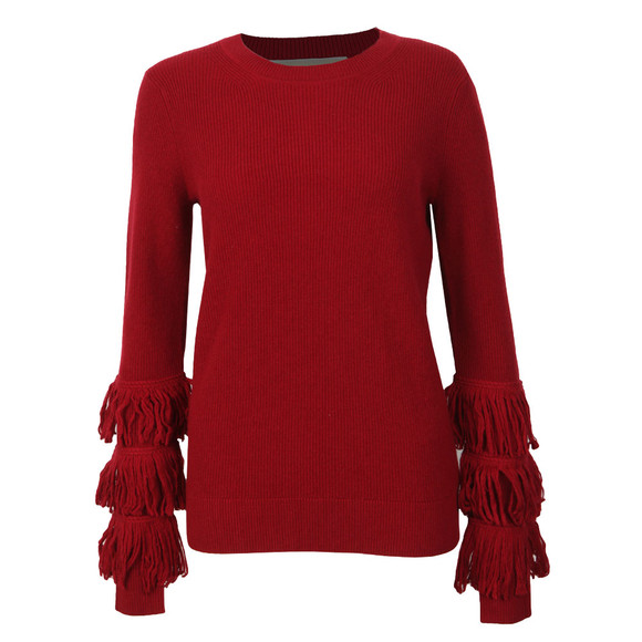 Michael Kors Womens Red Shaker Fringe Crew Jumper