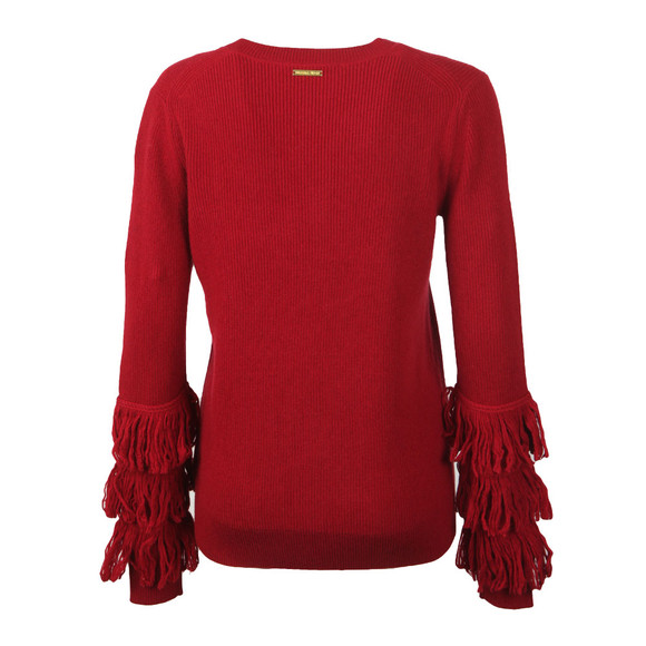 Michael Kors Womens Red Shaker Fringe Crew Jumper main image