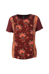 Maison Scotch Womens Red Mixed Print Short Sleeved Top