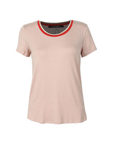 Maison Scotch Womens Pink Striped Neckline T-Shirt