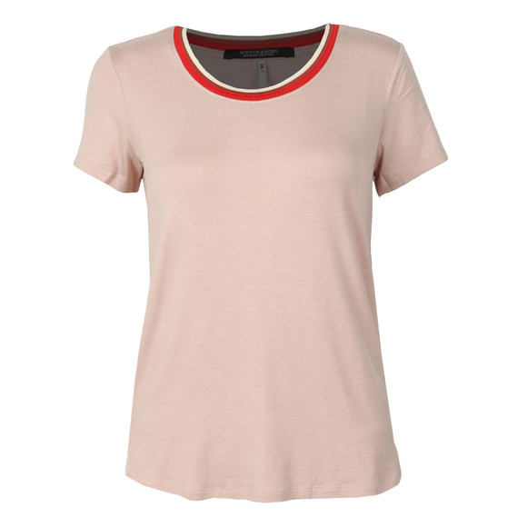Maison Scotch Womens Pink Striped Neckline T-Shirt main image