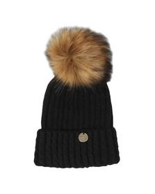 Holland Cooper Womens Black Cable Knit Faux Fur Bobble Hat