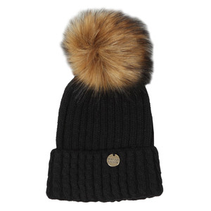 Cable Knit Faux Fur Bobble Hat