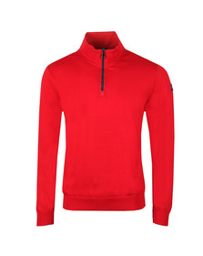 Paul & Shark Mens Red Cotton Half Zip Jumper