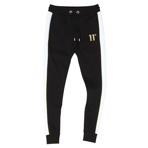 Eleven Degrees Mens Black Skinny Panelled Joggers main image