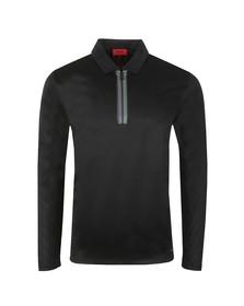 HUGO Mens Black Dywel LS Polo Shirt