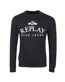 Replay Mens Blue Logo Sweat