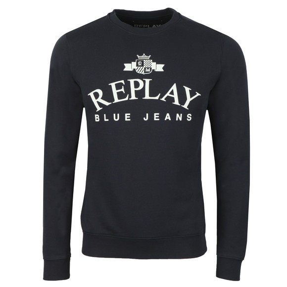 Replay Mens Blue Logo Sweat main image