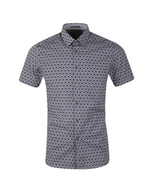 Ted Baker Mens Blue S/S Hex Line Print Shirt