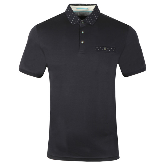 Ted Baker Mens Blue S/S Flat Knit Polo main image