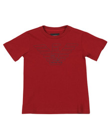 Emporio Armani Boys Red Large Logo T Shirt