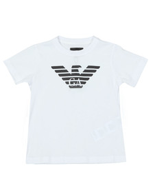 Emporio Armani Boys White Large Logo T Shirt