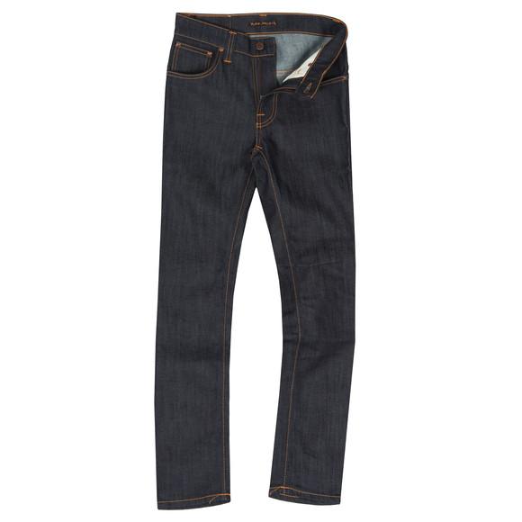 Nudie Jeans Mens Blue Thin Finn Organic Dry Ecru Embro Jean main image