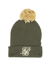 Sik Silk Mens Green Cuff Knit Bobble Hat