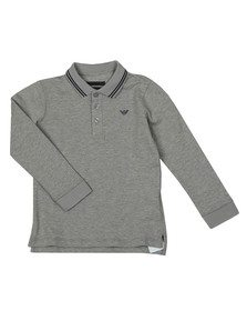 Emporio Armani Boys Grey Long Sleeve Tipped Polo Shirt