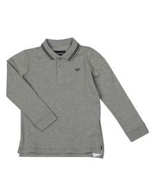 Emporio Armani Boys Grey Long Sleeve Tipped Polo Shirt
