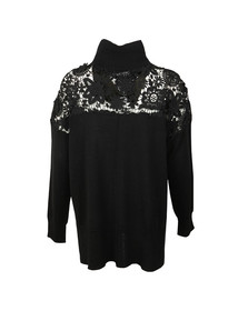 French Connection Womens Black Nadia Lace Knit Jumper
