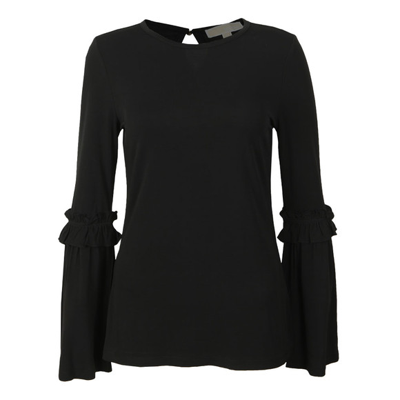 Michael Kors Womens Black Flare Cuff Long Sleeve Top main image