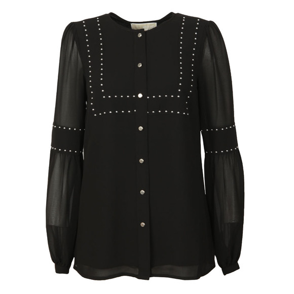 Michael Kors Womens Black HT Button Thru Blouse