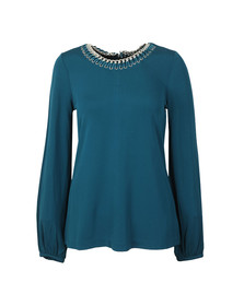 Michael Kors Womens Green ELV Chain Neck Top