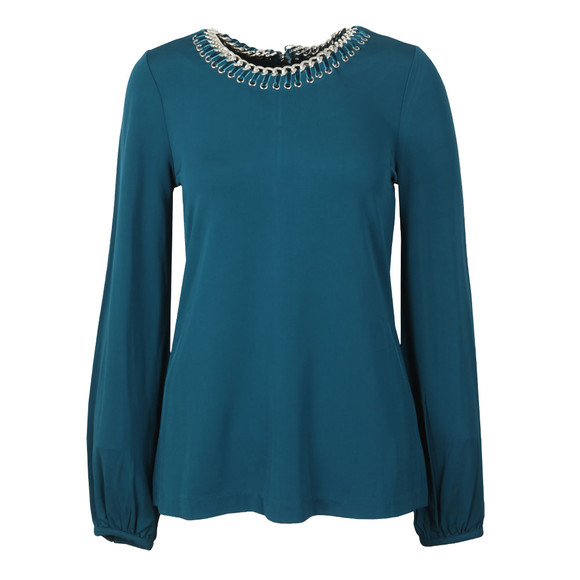 Michael Kors Womens Green ELV Chain Neck Top main image