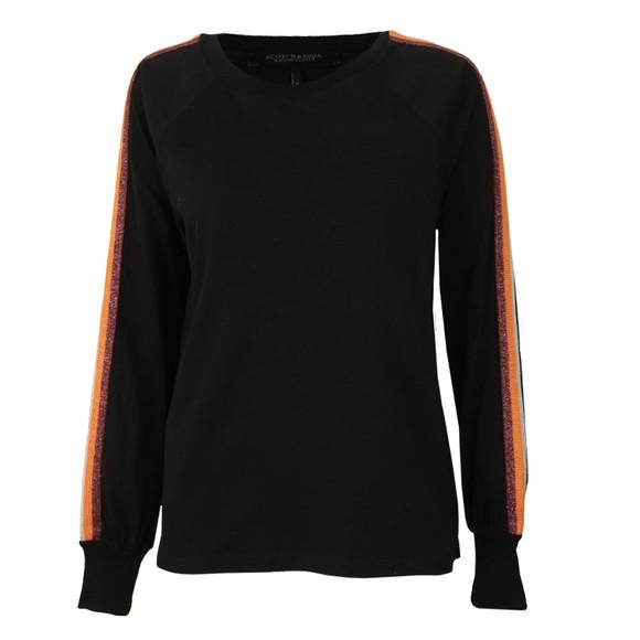 Maison Scotch Womens Black Striped Panel T Shirt